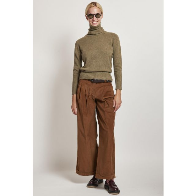 brown corduroy trousers with pleats