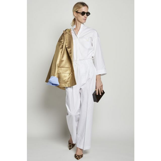 White cotton trousers with elastic