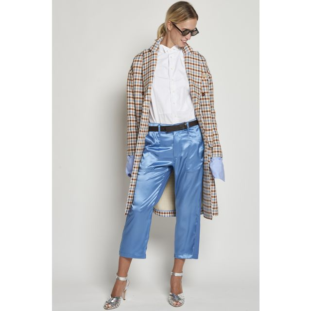 Light blue double fabric trousers
