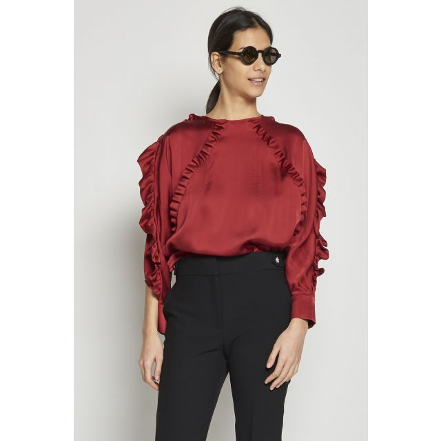 satin top with ruffles details