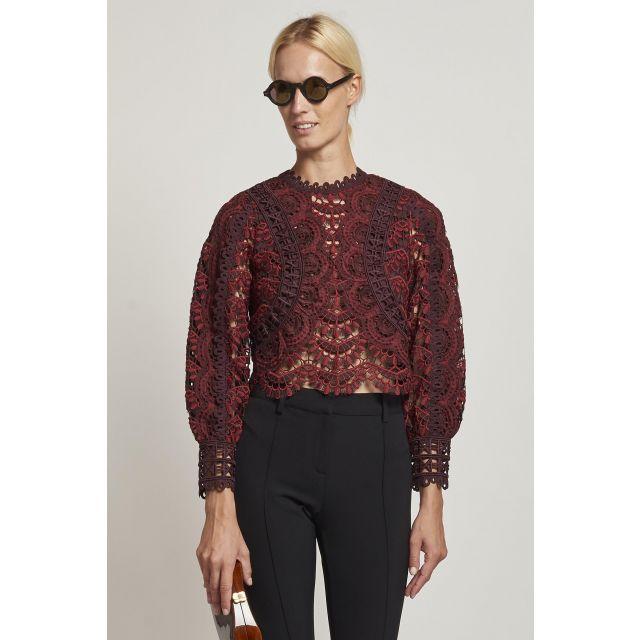 burgundy macramé shirt
