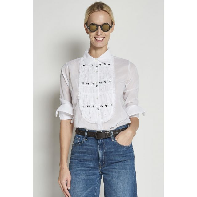 white long-sleeved cotton Shirt with embroidered plastron