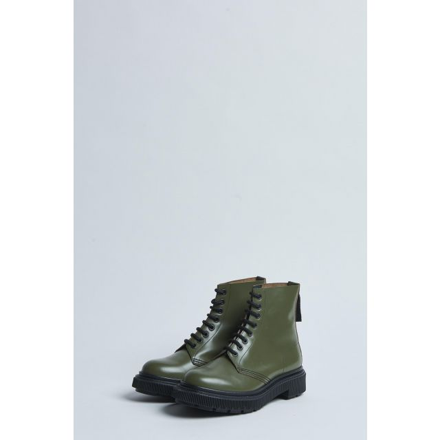 green lace-up high boot