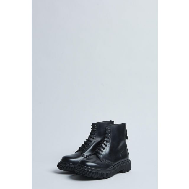 black lace-up high boot