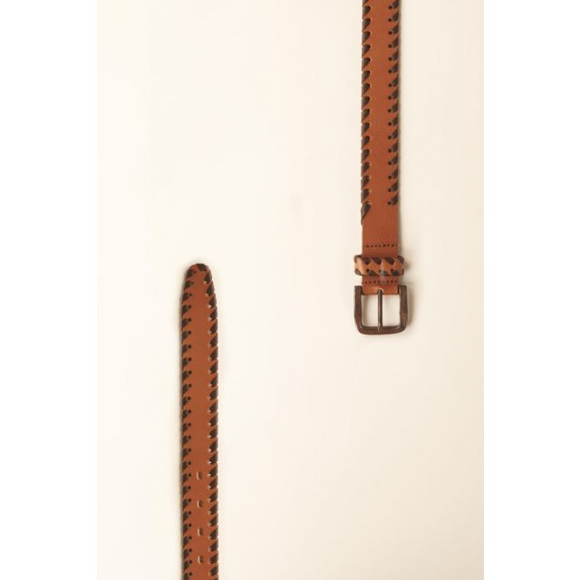 Cintura beige con intreccio marrone scuro