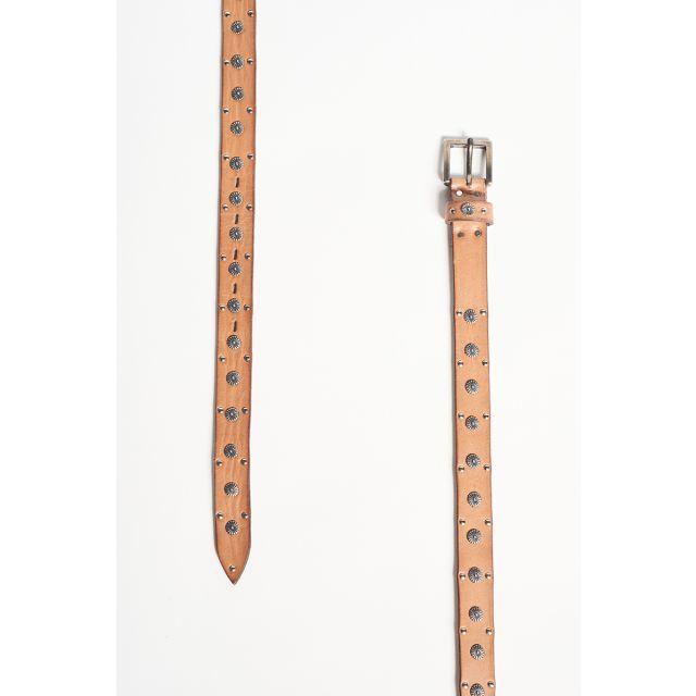 Cintura in cuoio con fiorellini in metallo