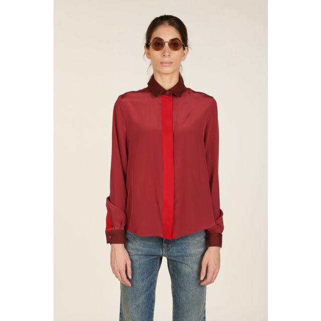 Camicia bordeaux in seta