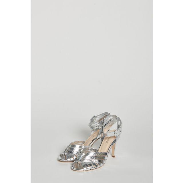 Silver heel sandals