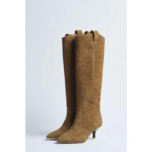 beige suede high boot with heel