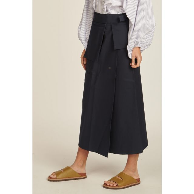 long blue skirt with pocket