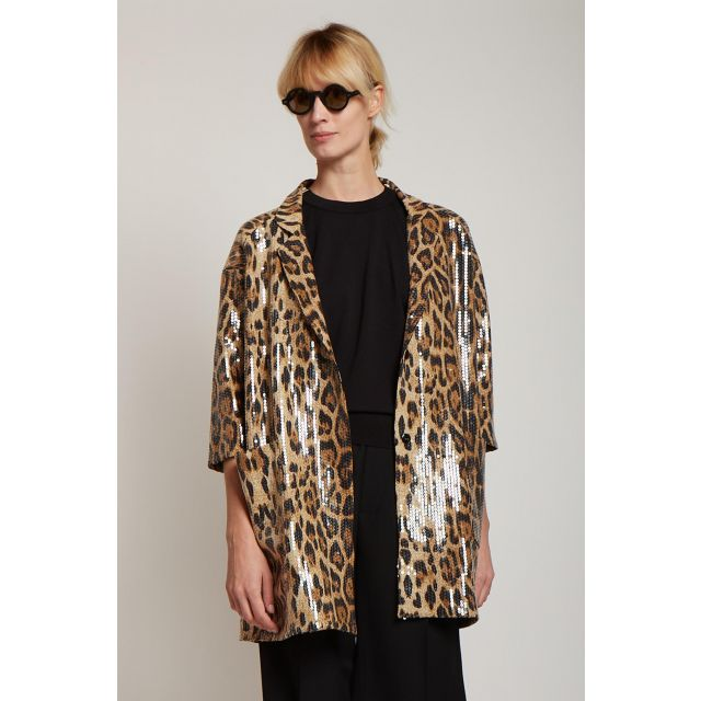 leopard print long jacket