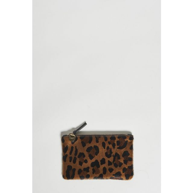 printed leopard leather clutch