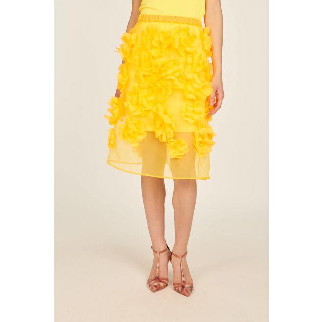 Gonna giallo fluo con fiori applicati