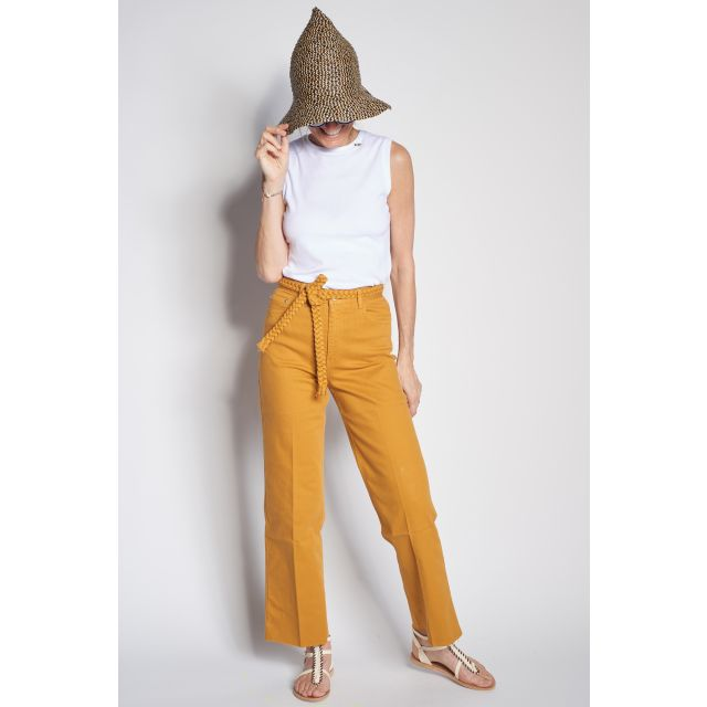 Yellow trousers with decorative belt