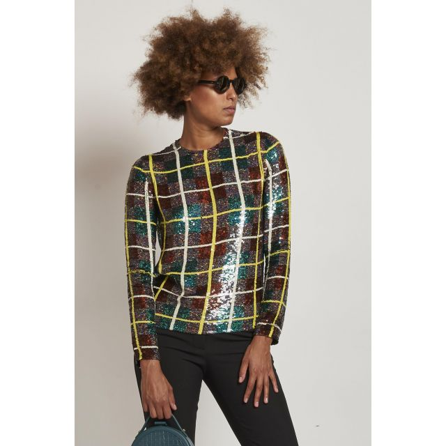 top verde paillettes checked