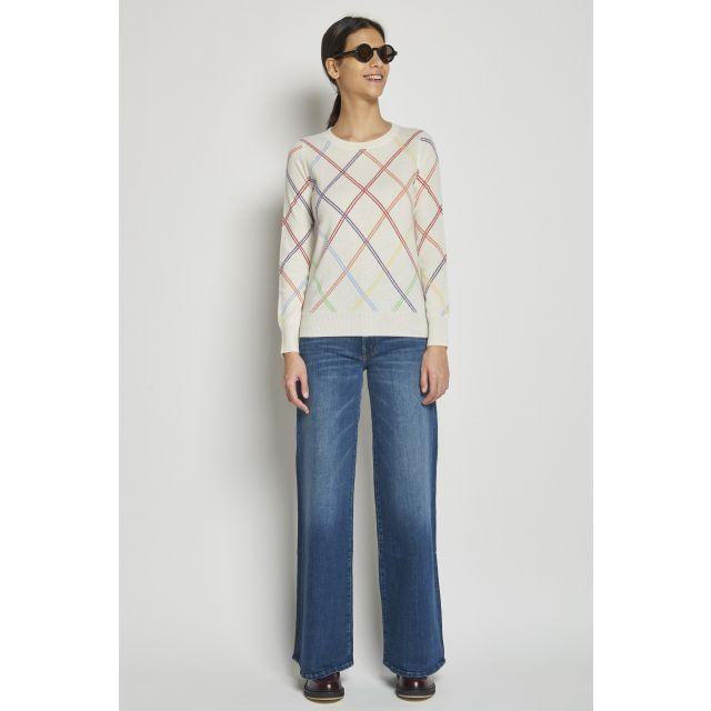 madeleine thompson maglia in cashmere a rombi multicolor | Milaura