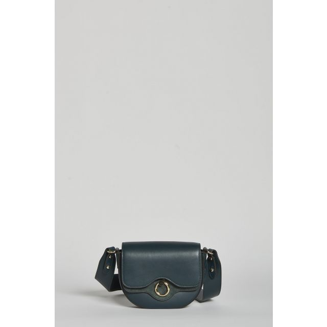 mini bag with changeble shoulder strap in dark green leather or fabric