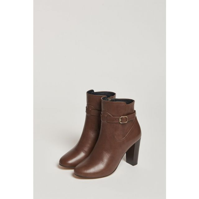 brown ankle boot with buckle