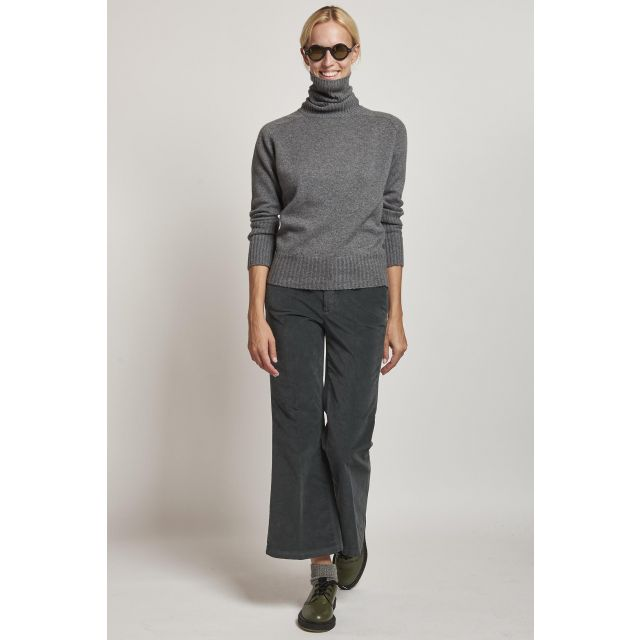 grey trumpet smooth velvet trousers