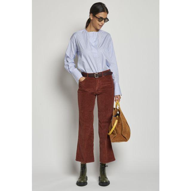 5-pocket striped brick-colored velvet trousers