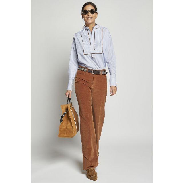 5-pocket brown velvet corduroy long trousers