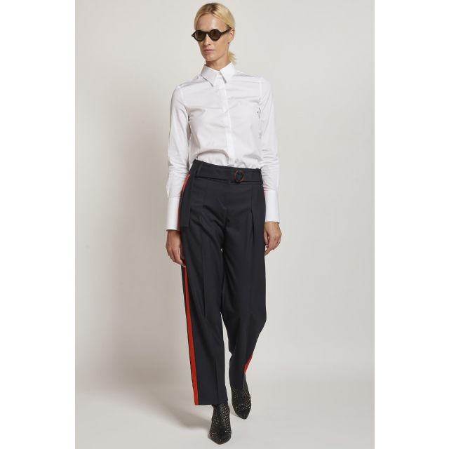 blue trousers with side red band