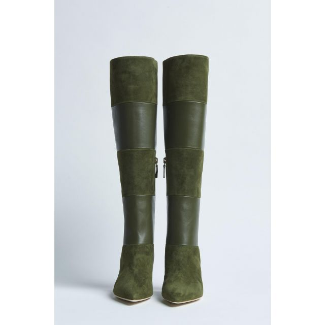 high suede green boot with heel