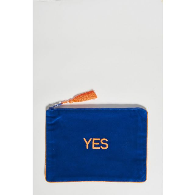 electric blue cotton velvet clutch yes