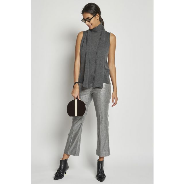 gray cropped lurex trousers
