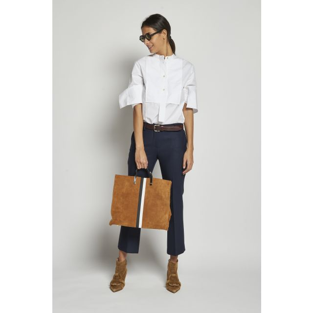 blue cropped stretch trousers