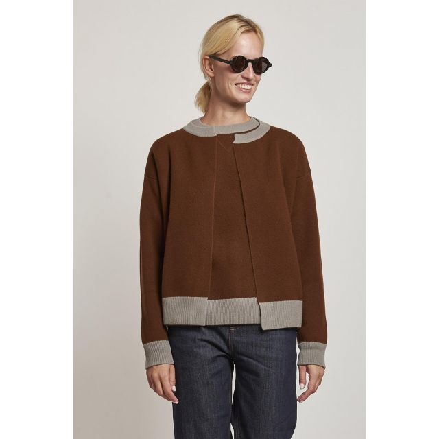 brown cardigan with contrasting edges