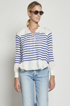 White cotton shirt with blue stripes