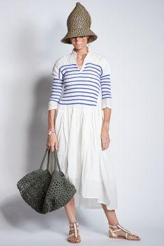 White cotton dress with blue stripes