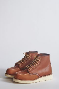 Lace-up boots in cognac leather