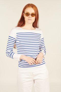 T-shirt Amiral blu e bianco in cotone con maniche lunghe