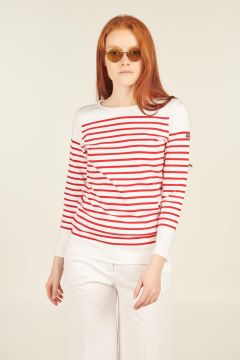 Red and white Amiral longsleeves striped t-shirt