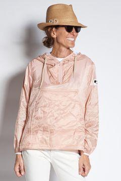 Pink nylon jacket with hood