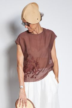 Brown top in embroidered muslin