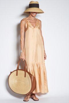Beige silk dress with flounce