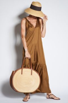 Brown silk dress with flounce