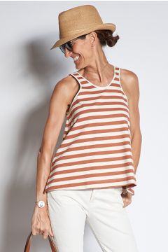 Tobacco striped jersey top