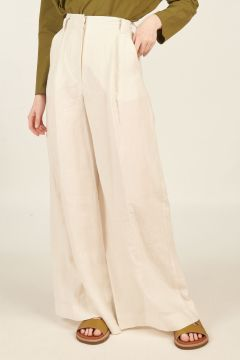 Oversized white linen trousers