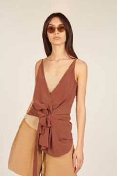 Asymmetrical silk top with knot on the front