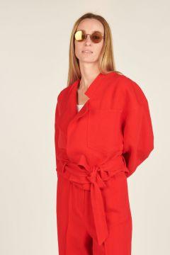 Giacca rossa di lino