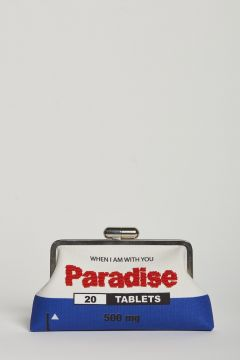 paradise embroidered canvas clutch