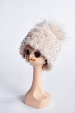 Beige faux fur hat with pompom