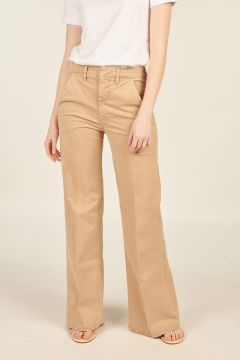 Beige Flared denim trousers