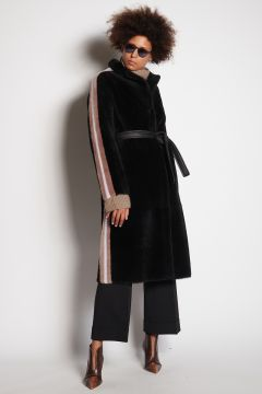 Black fur coat with contrasting stripes