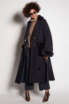 Over blue coat with fur pockets