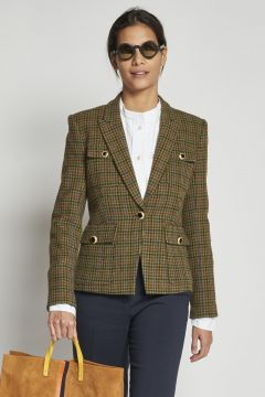 green houndstooth jacket with pockets